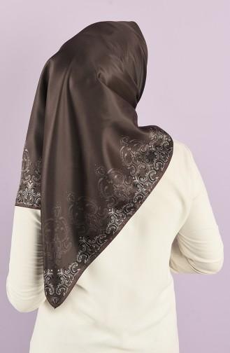 Karaca Patterned Synthetic Silk Twill Scarf 90726-05 Brown Dark Mink 90726-05