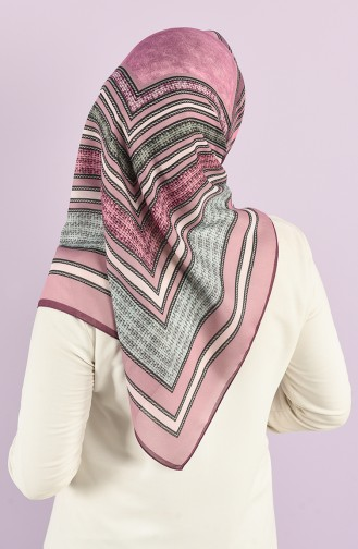 Karaca Patterned Soft Scarf 90732-12 Dark Lilac Pink 90732-12