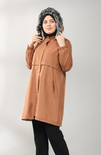Plus Size Hooded Coat 8102-05 Tobacco 8102-05