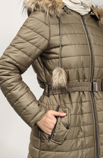 Hooded Quilted Coat 5095-07 Dark Khaki Green 5095-07