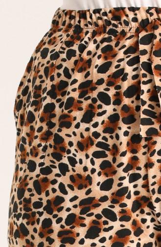 Desenli Süet Pantolon 8149-01 Kahverengi