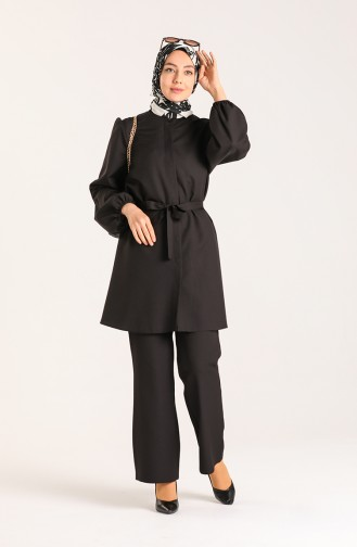 Elastic Sleeve Tunic Trousers Double Suit 0310-01 Black 0310-01