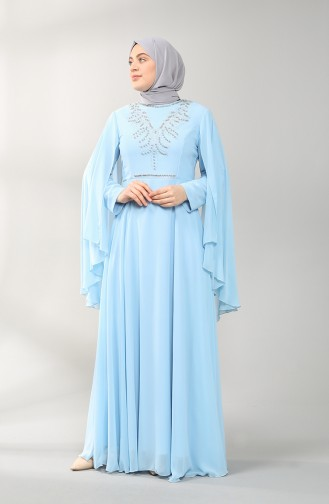 فساتين سهرة بتصميم اسلامي أزرق 2058-12