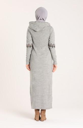 Triko Nakışlı Elbise 2179A-01 Gri