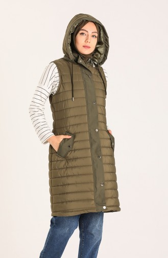 Hooded Quilted Vest 5161-01 Khaki 5161-01