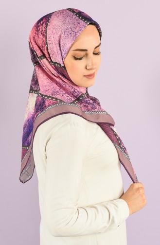 Karaca Patterned Soft Scarf 90728-07 Purple Phosphorescent Pink 90728-07