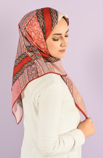 Karaca Patterned Soft Scarf 90730-09 Red Coral 90730-09
