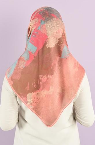Karaca Patterned Soft Scarf 90734-05 Dark Salmon Pink 90734-05