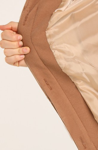 Plus Size Brooch Coat 1004-09 Beige 1004-09