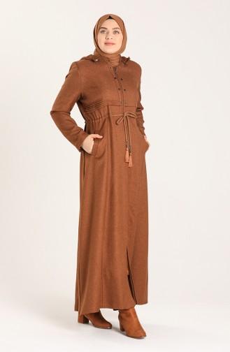 Plus Size waist Shirring Stamp Coat 1018-01 Tobacco 1018-01