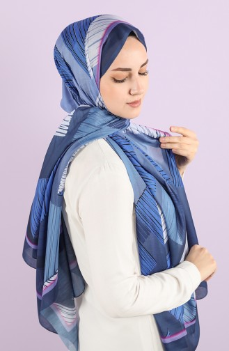 Patterned Cotton Shawl 95352-03 Light Navy Blue Saxe Blue 95352-03