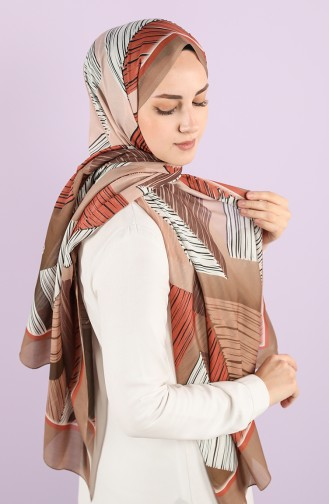 Patterned Cotton Shawl 95352-04 Light Brown Tile 95352-04