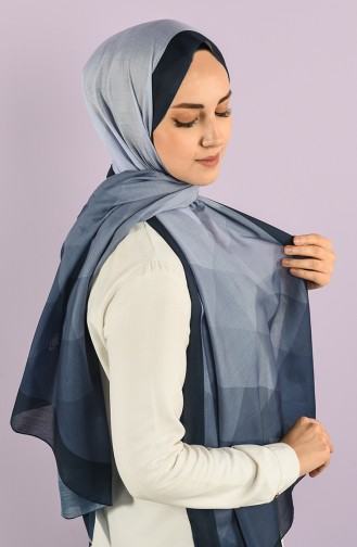 Patterned Cotton Shawl 95353-06 Navy Blue 95353-06