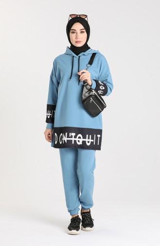 Scuba Fabric Tunic Trousers Double Suit 0435-01 Blue 0435-01