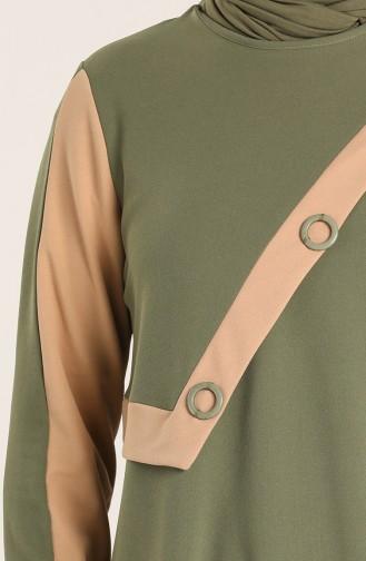 Plus Size Scuba Fabric Garni Tunic Trousers Double Suit 1429-01 Khaki 1429-01