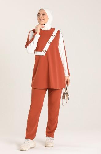 Plus Size Scuba Fabric Garni Tunic Trousers Double Suit 1429-02 Tile 1429-02