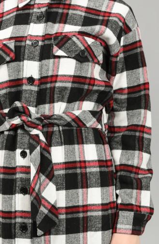 Checked Long Lumberjack Tunic 22226-03 Black white 22226-03