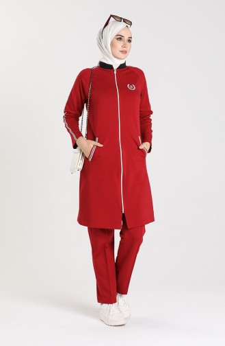 Zippered Tracksuit 1050s-06 Burgundy 1050S-06