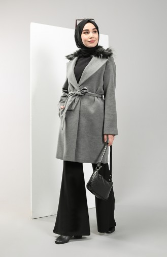 Fur Collar Stamp Coat 22421-01 Gray 22421-01