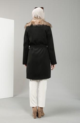 Fur Collar Stamp Coat 22421-02 Black 22421-02