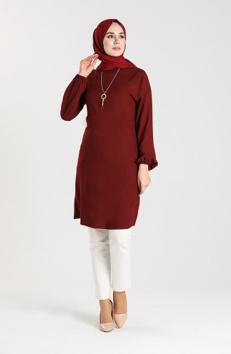 Necklace Detailed Tunic 3176-03 Cherry 3176-03