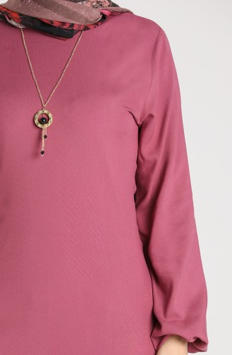 Necklace Detailed Tunic 3176-04 Dried Rose 3176-04