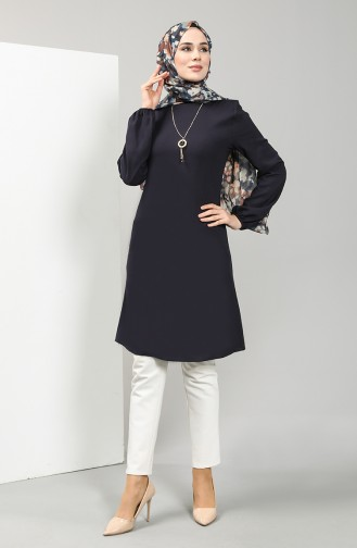 Necklace Detailed Tunic 3176-06 Navy Blue 3176-06