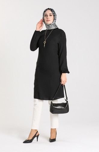 Necklace Detailed Tunic 3176-07 Black 3176-07