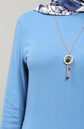 Necklace Detailed Tunic 3176-09 Indigo 3176-09