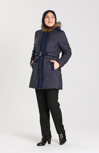 Plus Size Fur quilted Coat 1909-03 Light Navy Blue 1909-03