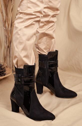 Bayan Troklu Çizme 0519-01 Siyah Rugan