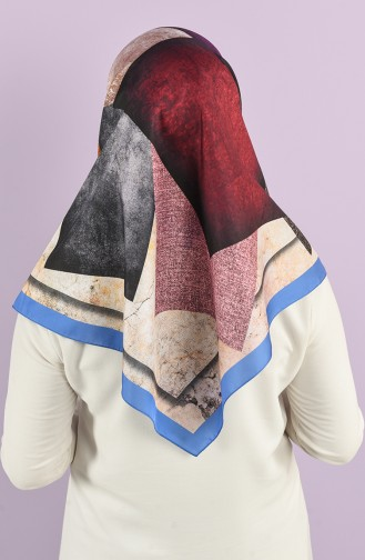 Patterned Silky Twill Scarf 15225-03 Blue 15225-03