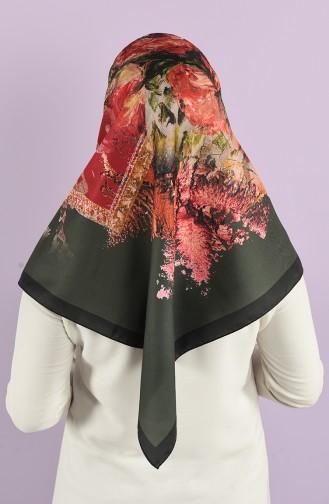 Patterned Silky Twill Scarf 15226-06 Khaki 15226-06