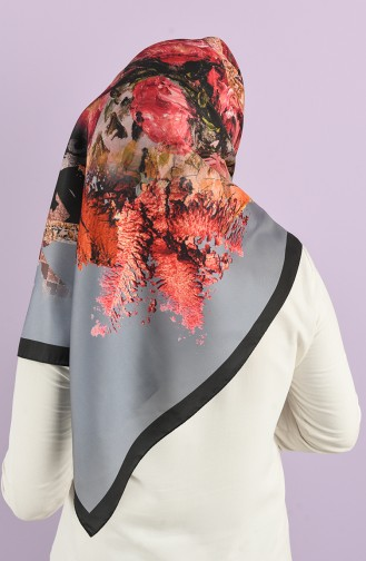 Patterned Silky Twill Scarf 15226-09 Gray 15226-09