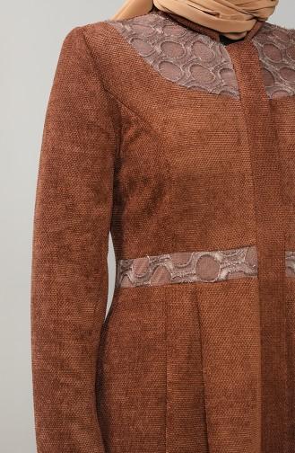 Büyük Beden Pileli Şönil Pardesü 1571-06 Taba