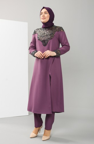 Plus Size Sequined Tunic Trousers Double Suit 1096-06 Lilac 1096-06