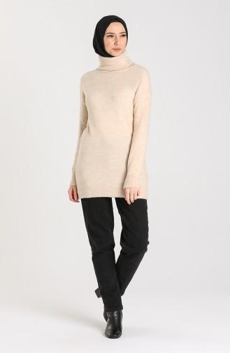 Knitwear Turtleneck Plain Sweater 4585-01 Beige 4585-01