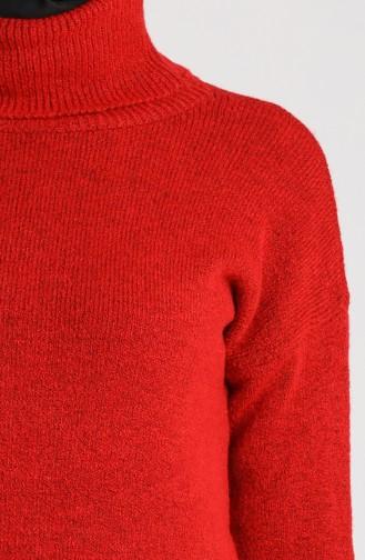 Knitwear Turtleneck Plain Sweater 4585-02 Red 4585-02