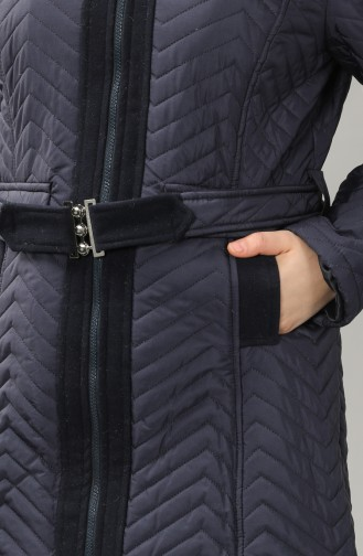 Plus Size Furry quilted Coat 1909-01 Navy Blue 1909-01