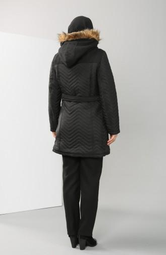 Plus Size Fur quilted Coat 1909-02 Black 1909-02