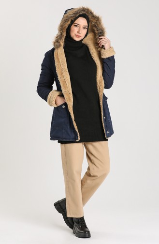 Fur Lined Coat 2603-02 Navy Blue 2603-02