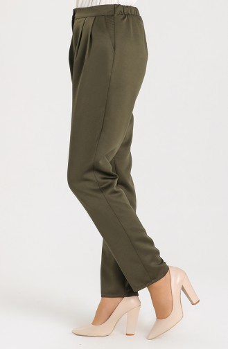 Pleat Detailed Pants with Pockets 3233-01 Khaki 3233-01