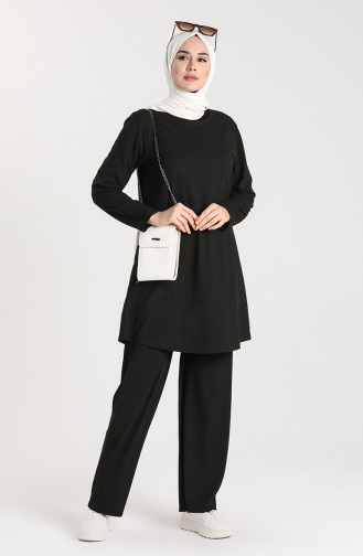 Ribbed Tunic Trousers Double Suit 2902-01 Black 2902-01