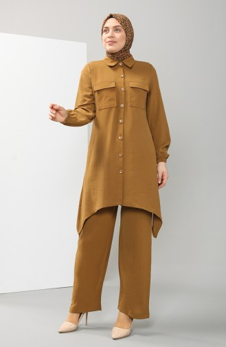 Büyük Beden Cepli Tunik Pantolon İkili Takım 0004-05 Hardal