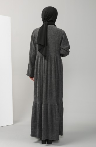 Elastic Sleeve Gathered waist Dress 88684-01 Anthracite 88684-01