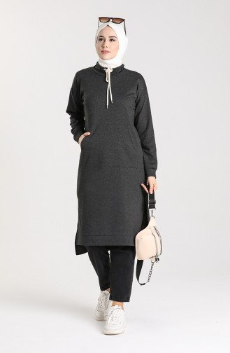 Tunic with Side Slit Pockets 3234-04 Anthracite 3234-04