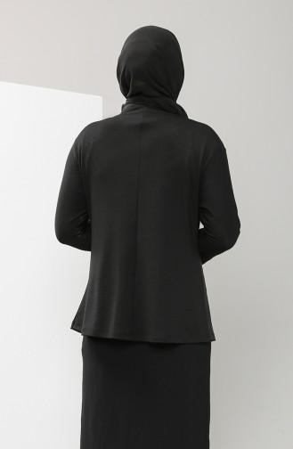 Büyük Beden Garnili Bluz 0204-01 Siyah