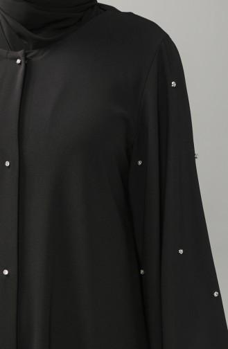 Büyük Beden Taşlı Düğmeli Abaya 8028-01 Siyah