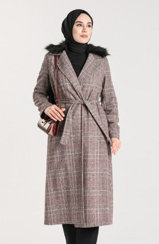 Checked Stamp Coat 0305-02 Claret Red 0305-02