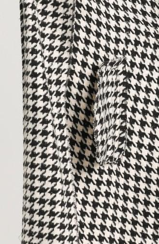 Kazayağı Desenli Kaşe Kaban 0305B-01 Siyah Beyaz